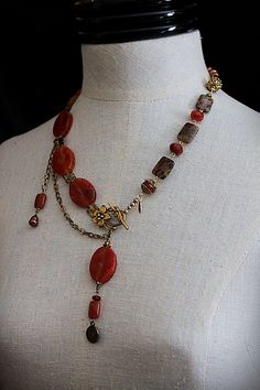 ADVENTURES IN RED Forest Jasper Carnelian Necklace. $85.00, via Etsy.