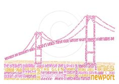 Customizable Newport, RI Bridge print for weddings, anniversaries, graduation gifts, etc. $30