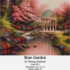 Rose garden Thomas Kinkade, Taj Mahal, Romania, Rose, Painting, Travel, Embroidery, Roses, Painting Art