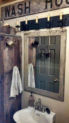 Most Design Ideas Primitive Bathroom Lighting Pictures, And Inspiration – Modern House Primitive Country Bathrooms, Primitive Homes, Rustic Bathrooms, Country Primitive, Primitive Bathroom Decor, Country Baths, Primitive Bedroom, Primitive Signs, Primitive Kitchen
