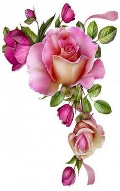 ideas for vintage flowers clipart Decoupage Vintage, Decoupage Paper, Vintage Diy, Vintage Flowers, Flower Images, Flower Pictures, Flower Art, Arte Floral, Decoupage Printables