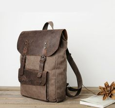 The Brumby, Leather and Canvas Vintage Style Backpack – Runaway Bags. Classic brown variation of our favourite rucksack. Makes us feel like to original explorers.