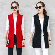 2018 spring and autumn wild women's vest long section Korean Slim was thin sleeveless suit vest vest jacket jacket-geekbuyig Vest Outfits For Women, Blazer Outfits, Blazers For Women, Coats For Women, Jackets For Women, Clothes For Women, Sleeveless Blazer, Long Vests, Mode Hijab