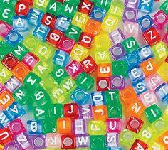 Colorful Acrylic Cube Alphabet Beads (Pkg of 100)