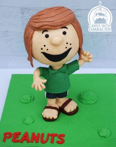 My contribution to the peanuts Sugar Gang cake collaboration! The cool kid peppermint patty! All modeling chocolate body with a modeling chocolate covered cake head. Snoopy Cake, Character Cakes, Peppermint Patties, Charlie Brown And Snoopy, Modeling Chocolate, Cake Cover, Peanuts Gang, Bobble Head, Themed Cakes