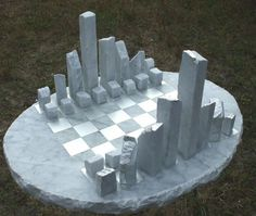 Carrara marble #sculpture by #sculptor Krystyna Sargent titled: 'Chess as Art - New York (abstract marble statue)'. #KrystynaSargent