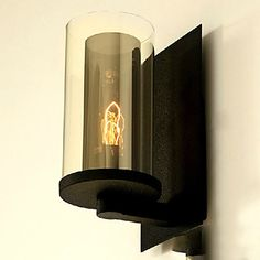 Wall Light, en lys, American Style Rustikk Iron Glass Pain – NOK kr. 701