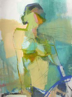 'Viridian Stance' acrylic and oil pastel painting by Teil Duncan.
