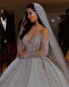 Luxurious Sparkly 2019 African Wedding Dresses Sheer Neck Long Sleeves Bridal Dresses Beaded Sequins Satin Wedding Gowns White Ball Gown Wedding Dress Ball Gown Princess Wedding Dresses From Chic_cheap, € Long Sleeve Bridal Dresses, Sheer Wedding Dress, African Wedding Dress, Top Wedding Dresses, Cute Wedding Dress, Wedding Dress Trends, Long Sleeve Wedding, Princess Wedding Dresses, Bridal Gowns