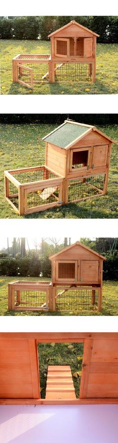 Cages and Enclosure 63108: Backyard Wooden Rabbit Hutch Bunny Cage W/Run Yard Hutch Habitat Pet Supplies BUY IT NOW ONLY: $134.67