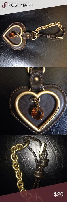 Juicy Couture accessory Brown leather heart and buckle with gold. Can hang on you bad or can be used as a key chain. Juicy Couture Other