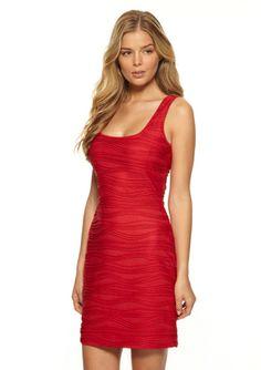 GUESS Red Sleeveless Textured Dress