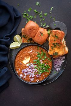 A No Fail Best Mumbai Pav Bhaji Recipe step by step. An authentic, popular street food which is a spicy medley of vegetables cooked in lots of butter, bombay pav bhaji masala powder and served with buttered pav (soft dinner rolls). Indian Snacks, Indian Food Recipes, Vegetarian Recipes, African Recipes, Curry Recipes, Mumbai Street Food, Indian Street Food, Kitchen Recipes, Recipes