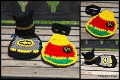 crocheted Batman & Robin baby outfits