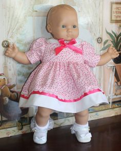 Bitty Baby Pink Dot Dress by RuthielovestoSew on Etsy Bitty Baby Clothes, Cute Dresses, Summer Dresses, Pink Dot, Baby Born, Dot Dress, American Girl, Baby Dolls, Babies
