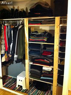 Ikea Gorm shelves as closet organization (we've got two of these we won't need after we move!)