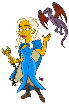 Daenerys Targaryen (from Game of Thrones) Here is the much-requested Daenerys Punx. I have to confess, I haven't seen even one ep. Simpsons Drawings, Simpsons Art, Power Rangers Shows, Los Simsons, Simpsons Characters, Game Of Throne Daenerys, Batman, Caricature, Marvel Comics