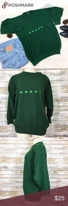 "Emerald Isle Green Acrylic 4-Leaf Clover Sweater It's not easy being green - unless you're cozying up in this gorgeous green sweater from The Emerald Isle. Featuring four leaf clovers dancing across the front.  Size: Small Material: 100% acrylic  Made in Ireland. Condition: pre-owned. Measurements (flat):  Armpit to armpit: 23.5"" Waist: 23"" Bottom hem: 15"" Sleeve: 18.5"" Length: 24"" Emerald Isle Sweaters"