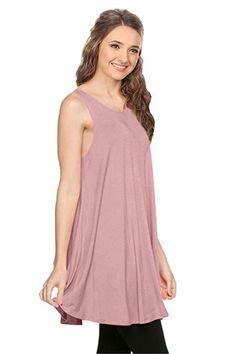 bf181e4f5fce35 Simlu Womens Basic Sleeveless Long A-Line Made in USA Tank Top Tunic Vest  at Amazon Women s Clothing store