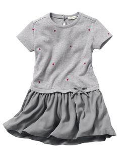 Dual Fabric Dress GREY LIGHT ALL OVER PRINTED - vertbaudet enfant