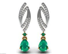 18k Solid Yellow Gold Dangle Drop Earrings Certified Diamond New Emerald Jewelry #Handmade #DropDangle