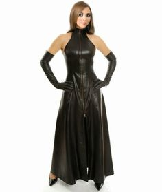 long leather dress Leather Gloves, Leather High Heel Boots, High Boots, Leather Dresses, Leather Skirt, Leather Outfits, Steampunk, Halloween, Ruffle Skirt