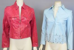 Lot 17: Two designer leather jackets including pink snake skin and a light blue leather jacket. #Nadeausauction #Socialite #Luxury #Couture #Vintage #Fashion #Auction