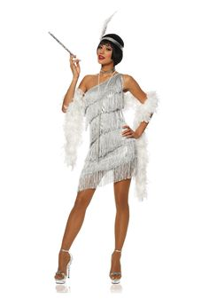 You want to dazzle 'em? Sure you do! There's no better way than our Women's Dazzling Silver Flapper Dress, see? It's got plenty of shimmer, see?