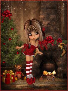 Advent by on DeviantArt Christmas Fairy, Christmas Scenes, Christmas Images, Merry Christmas, Xmas, Christmas Background, Christmas Wallpaper, Beautiful Fairies, Beautiful Dolls
