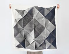 Folded Paper furoshiki (black) Japanese eco wrapping textile/scarf from TheLinkCollective