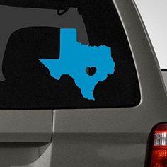 I love Texas Car Decal, Blue