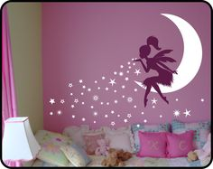 FAIRY Wall Art | Fairy Decor | Fairy Wall Art | Fairy Blowing Stars | Baby Girl Nursery Decor | Tinkerbell Wall Decal | Pixiedust Designs by WallCrafters on Etsy https://www.etsy.com/uk/listing/253070321/fairy-wall-art-fairy-decor-fairy-wall