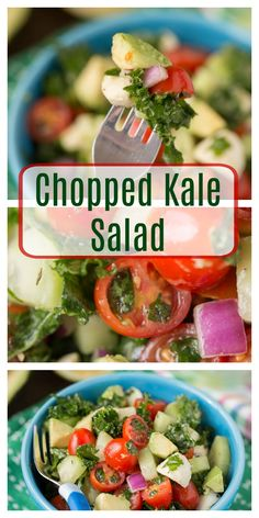Chopped Kale Salad with cucumbers, mozzarella, avocado, tomatoes and more! This is the perfect salad for Kale, kids and you!