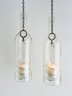 Wine Bottle Candle Holder Hanging Hurricane Lanterns by BoMoLuTra