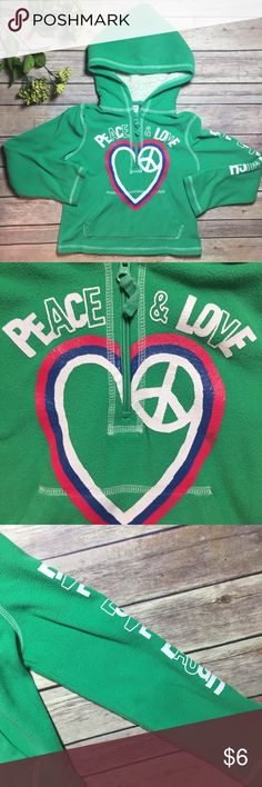 Fleece Old Navy Hoodie Green 'Peace & Love' Old Navy fleece hoodie, hood is lined. Left arm has Graphic 'Live-Love-Laugh'. Size S (6-7). VGUC apart from one spot of minor wear on the heart (pink, mid-level-see graphic). Old Navy Shirts & Tops Sweatshirts & Hoodies