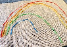 sewing on burlap: great introduction to learning to embroider for kindergarteners