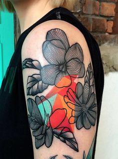 The Master Of Surrealism: Tattoos By Mariusz Trubisz Pop Art Tattoos, Modern Tattoos, Time Tattoos, Abstract Tattoos, Owl Tattoos, Watercolor Tattoos, Geometric Tattoos, Tattoo Ink, Abstract Watercolor