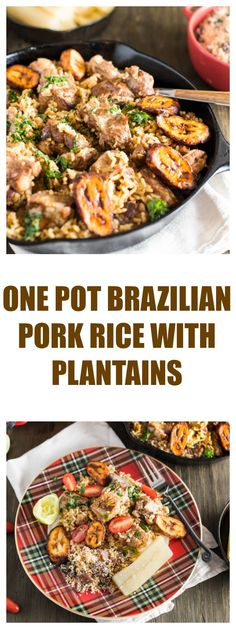 One pot Brazilian pork and rice with plantains
