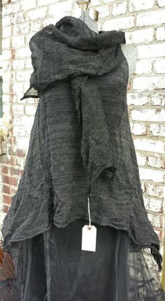 www.caramayknits.com ramie and silk stainless steel crumpled tunic shown with crumpled wrap knit from linen stainless for maximum crumple!