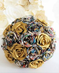 Paper Comic book Flower Bouquet Origami UK Bridal Gold Marvel
