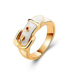 """Brand New Gold Plated White Enamel Strap Ring Trendy white enamel """"strap"""" ring w/ gold plating .like a miniature buckled belt on a finger. Anillo Michael Kors, Gold Plated Rings, Gold Rings, Silver Ring, Cute Rings, Gems Jewelry, Diamond Jewelry, Sterling Silver Flowers, White Enamel"""