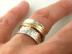 Meditation Spinner Ring Copper and Sterling Silver Sz 6. Starting at $1 on Tophatter.com!