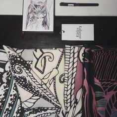 Preparing for tomorrow amazing @lucamene89 shooting and other great news soon #drawing #artistic #silkscarf #silkillustration #illustrations #wearableart #beachlife #nordic #vikings #patterns #recreated #foulard #silk #signature #prints #fabrics #fabricdesign