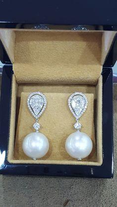 Pear Illusions diamonds outhouse sea pearl earring