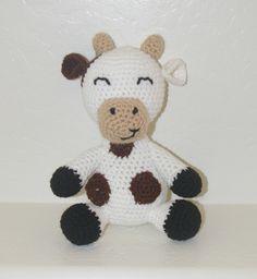 Cuthbert the Cow Handmade Crochet Animal by KuddlesAndKritters