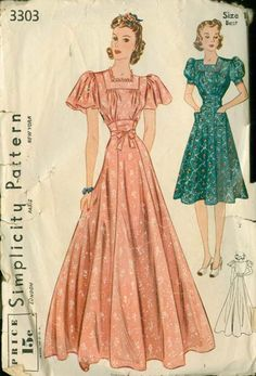 Vintage Simplicity 3303 BEST Glamorous Evening Dress w/ Fitted EMPIRE Midriff and Flared or Puff Sleeves Sewing Pattern Size 16 Bust 34 Tea Length Wedding Dress, Wedding Dresses Plus Size, Best Wedding Dresses, Designer Wedding Dresses, 1940s Fashion, Vintage Fashion, Vintage Dresses, Vintage Outfits, Vintage Clothing