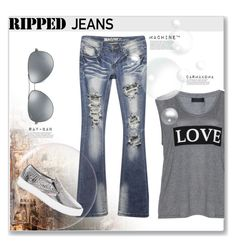 """Ripped Jeans"" by rosipolooyas on Polyvore featuring moda, Carmakoma, Wet Seal, White House Black Market y Ray-Ban"