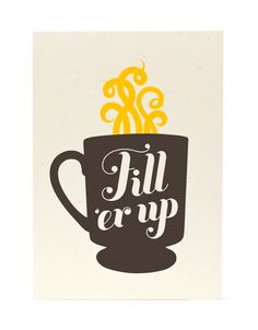 fun kitchen art- Retro Coffee Cup (grey) / 5x7 screenprint Join foodnservice.com for your daily coffee thoughts and inspiration