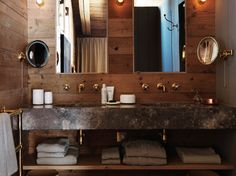 Rustic Glam bathroom with Brecchia marble sink, polished brass hardware and accents, reclaimed wood; Belgian and Swedish combined with Wabi Sabi elements | Chalet Fontanet by Studio Ilse