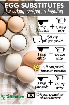 Egg Substitutes for Cooking and Baking (Wellness Mama) Egg Free Recipes, Vegan Recipes, Cooking Recipes, Lunch Recipes, Cooking Games, Chef Recipes, Cooking Classes, Fall Recipes, Smoothie Recipes
